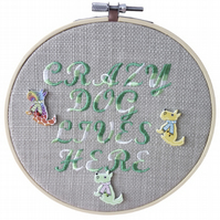 Crazy Dog, 15cm Embroidered Hoop Art, Hanging Wall Decoration