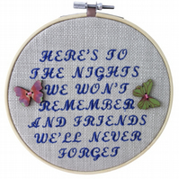 Friends Nights, 15cm Embroidered Hoop Art, Hanging Wall Decoration