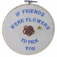 Friends, 15cm Embroidered Hoop Art, Hanging Wall Decoration