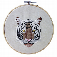 Tiger Face, 15cm Embroidered Hoop Art, Hanging Wall Decoration