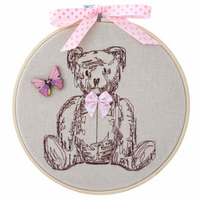 Teddy with Bow, 15cm Embroidered Hoop Art, Hanging Wall Decoration