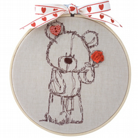 Teddy with Rose, 15cm Embroidered Hoop Art, Hanging Wall Decoration