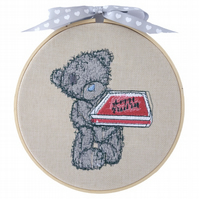 Teddy with Cake, 15cm Embroidered Hoop Art, Hanging Wall Decoration