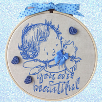 Blue Child, 15cm Embroidered Hoop Art, Hanging Wall Decoration