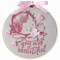 Pink Child, 15cm Embroidered Hoop Art, Hanging Wall Decoration