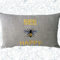 Bee Happy, Embroidered Bee design Feature Cushion, Throw Pillow