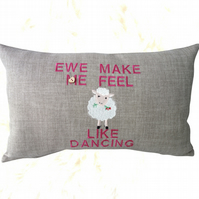 Sheep Cushion, Embroidered Cushion, Feature Cushion, Throw Pillow