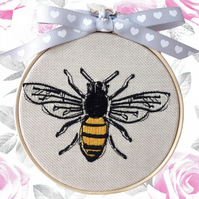 Yellow Bee, 10cm Embroidered Hoop Art, Hanging Wall Decoration