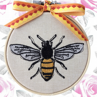 Gold Bee, 10cm Embroidered Hoop Art, Hanging Wall Decoration