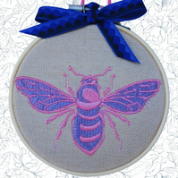 Purple Bee, 10cm Embroidered Hoop Art, Hanging Wall Decoration