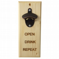 Open Drink Repeat, Message Bottle Opener, Engraved Gift