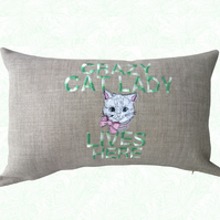 Crazy Cat Lady, Embroidered Cat design Feature Cushion