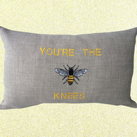 Bees Knees, Embroidered Bee design Feature Cushion