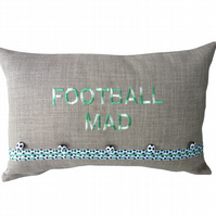 Football Mad, Embroidered Decorative Feature Cushion, Throw Pillow