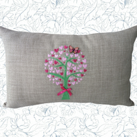 Heart Tree, Embroidered Tree design Feature Cushion