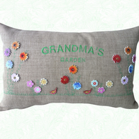 Grandma's Garden, Embroidered Flower design Feature Cushion