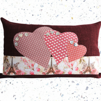Paris & Hearts, Appliqué and Embroidered Feature Cushion, Throw Pillow
