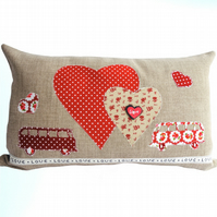 Camper Van, Appliqué and Embroidered Feature Cushion, Throw Pillow