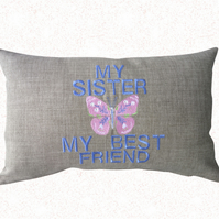 My Sister, Embroidered Butterfly design Feature Cushion, Throw Pillow