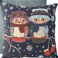 Winter Owls, tapestry panel Feature Cushion, Throw Pillow
