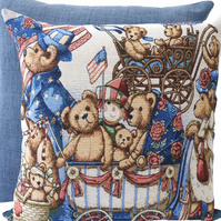 Teddy Bear Parade, tapestry panel Feature Cushion, Throw Pillow
