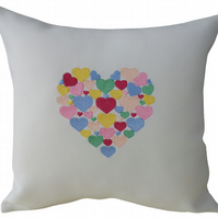 PERSONALISED Heart of Hearts, Embroidered Feature Cushion