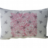 Roses and Bees, Embroidered Feature Cushion