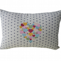 Heart of Rainbow Coloured Hearts, Embroidered Feature Cushion
