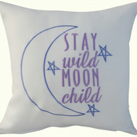 Moon and Stars, Embroidered Feature Cushion