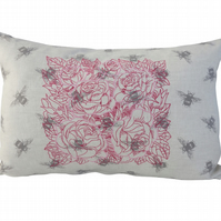 Roses and Bees Cushion, Embroidered Cushion, Feature Cushion, Throw Pillow