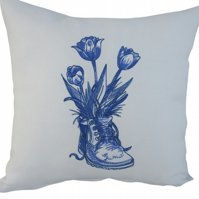 Blue Boot and Flowers, Embroidered Feature Cushion