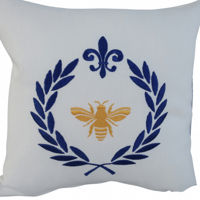 Bee in Laurel Wreath, Embroidered Feature Cushion