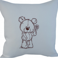Brown Teddy Bear, Embroidered Feature Cushion