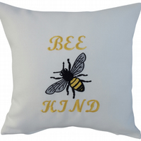 Bee Kind with Bee, Embroidered Feature Cushion