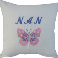 Nan and Butterfly, Embroidered Feature Cushion
