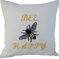 Bee Happy with Bee, Embroidered Feature Cushion