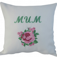 Mum and Flower, Embroidered Feature Cushion