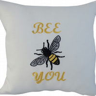 Bee You with Bee, Embroidered Feature Cushion