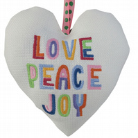 Love Peace Joy, 18cm Embroidered Padded Heart