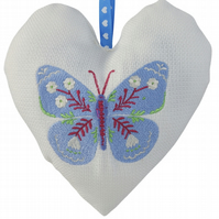 Butterfly, 18cm Embroidered Padded Heart