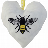 Bee, 18cm Embroidered Padded Heart