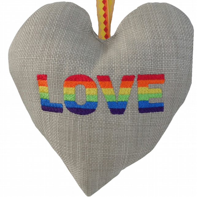 Love, 18cm Embroidered Padded Heart