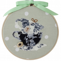 Time For Tea, 15cm Appliqué Embroidered Hoop Art, Hanging Wall Decoration