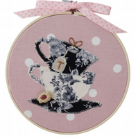 Tea Time, 15cm Appliqué Embroidered Hoop Art, Hanging Wall Decoration