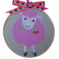 Pink Sheep, 10cm Embroidered Hoop Art, Hanging Wall Decoration