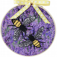 Lavender Bees, 15cm Embroidered Hoop Art, Hanging Wall Decoration