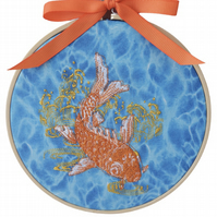 Koi Carp, 15cm Embroidered Hoop Art, Hanging Wall Decoration