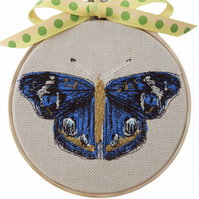 Blue Butterfly, 10cm Embroidered Hoop Art, Hanging Wall Decoration