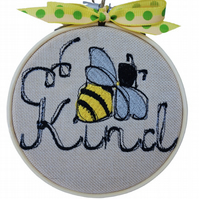 Bee Kind, 10cm Embroidered Hoop Art, Hanging Wall Decoration