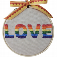 Love, 10cm Embroidered Hoop Art, Hanging Wall Decoration